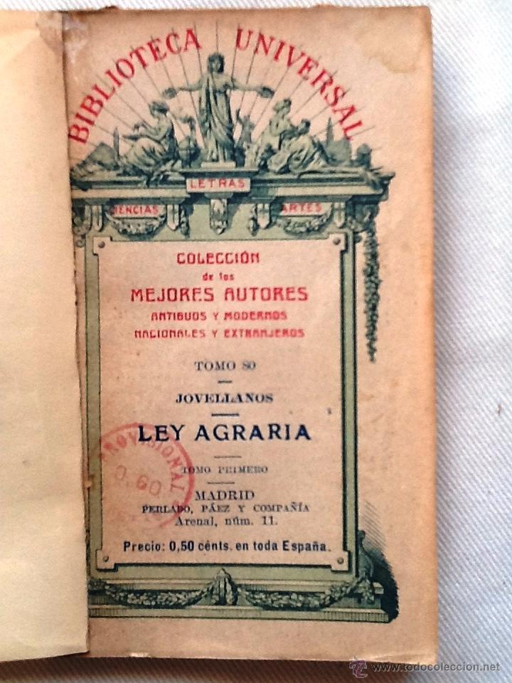 LEY AGRARIA 1917 JOVELLANOS. COLECCION DE LOS MEJORES AUTORES. TOMO 80 (Libros Antiguos, Raros y Curiosos - Ciencias, Manuales y Oficios - Derecho, Economía y Comercio)