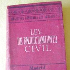 Libros antiguos: LEY DE ENJUICIAMIENTO CIVIL DE 3 DE ENERO DE 1881 (1903). Lote 55024584