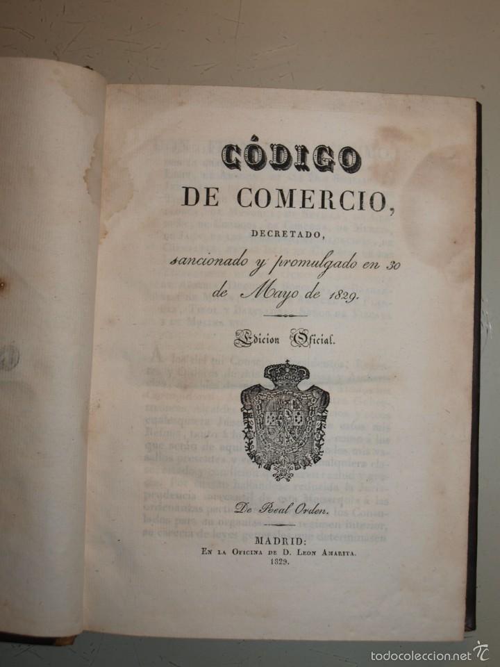 Libros antiguos: Código de Comercio. Madrid 1829. Edición Oficial. - Foto 2 - 55342427