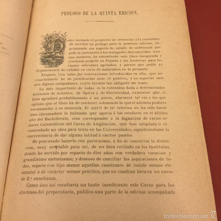 Libros antiguos: Curso elemental de fisica elemental y aplicada y nociones de quimica inorganica. 1886. - 656 pags - Foto 2 - 55367727