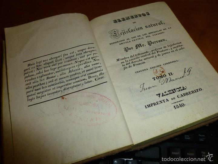 Libros antiguos: elementos de legislacion natural, por mr. perreau, tomo ii, tercera edicion en valencia 1840 - Foto 3 - 56177683