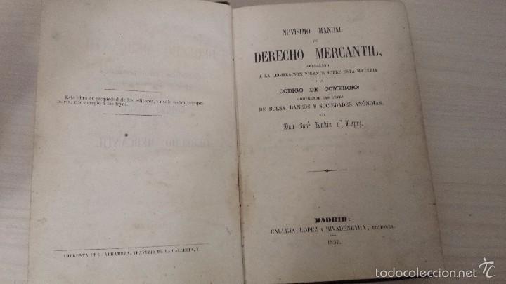 NOVISIMO MANUAL DE DERECHO MERCANTIL (1857) JOSÉ RUBIO Y LÓPEZ (Libros Antiguos, Raros y Curiosos - Ciencias, Manuales y Oficios - Derecho, Economía y Comercio)