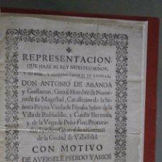 Libros antiguos: (TELARES). REPRESENTACION QUE HAZE AL REY NUESTRO SEÑOR, Y SU REAL, Y SUPREMO CONSEJO DE CASTILLA... Lote 56669416