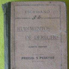 Libros antiguos: RUDIMENTOS DE DERECHO_ GODOFREDO ESCRIBANO (1917). Lote 56735837