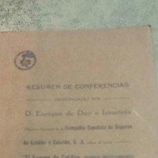 Libros antiguos: RESUMEN DE COFERENCIAS PRONUNCIADAS POR DON ENRIQUE DUO IZAURIETA, CREDITO Y CAUCIÓN 1930. Lote 56844931