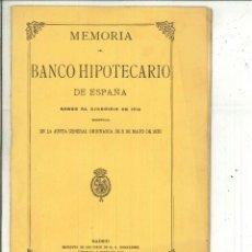Libros antiguos: MEMORIA DEL BANCO HIPOTECARIO DE ESPAÑA SOBRE EL EJERCICIO DE 1919. Lote 56932494