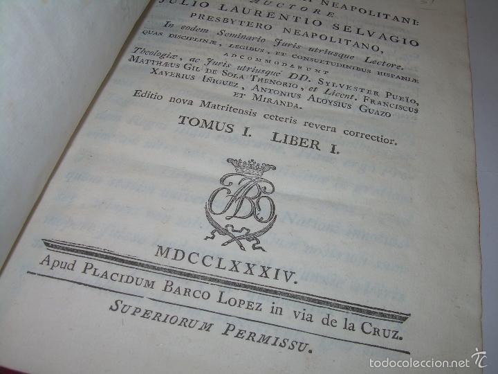 Libros antiguos: LIBRO TAPAS DE PIEL....INSTITUTIONUM CANONICARUM.....LEYES - DERECHO.....AÑO...1.789 - Foto 4 - 57159455