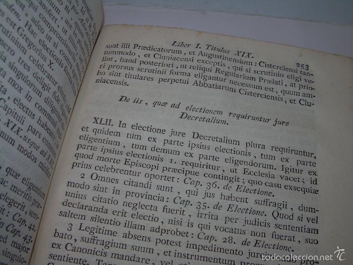 Libros antiguos: LIBRO TAPAS DE PIEL....INSTITUTIONUM CANONICARUM.....LEYES - DERECHO.....AÑO...1.789 - Foto 7 - 57159455