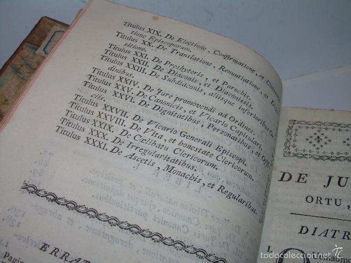Libros antiguos: LIBRO TAPAS DE PIEL....INSTITUTIONUM CANONICARUM.....LEYES - DERECHO.....AÑO...1.789 - Foto 11 - 57159455