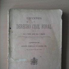 Libros antiguos: LECCIONES DE DERECHO CIVIL FORAL. Lote 57374867