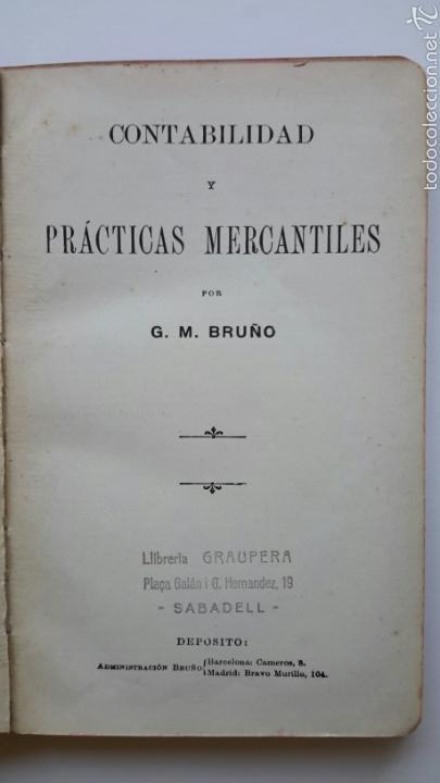 G. M. BRUÑO. CONTABILIDAD Y PRÁCTICAS MERCANTILES. (Libros Antiguos, Raros y Curiosos - Ciencias, Manuales y Oficios - Derecho, Economía y Comercio)