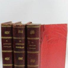 Libros antiguos: L-3419 EL ABOGADO POPULAR POR D. PEDRO HUGUET Y CAMPAÑA 3 TOMOS ED. MANUEL SOLER 1898. Lote 57766950