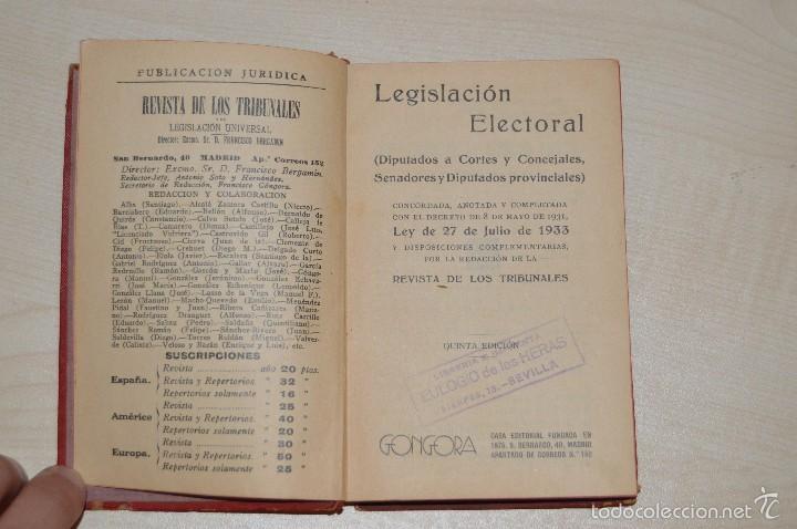 Libros antiguos: Revista de los Tribunales - Legislación Electoral - Editorial Gongora - Año 1933 - 5ª edición - Foto 2 - 57796245