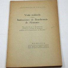 Libros antiguos: VISITA REALIZADA INSTITUCIONES DE BENEFICIENCIA DE ALEMANIA, AYUNTAMIENTO DE BARCELONA, MEMORIA,1926. Lote 57874063