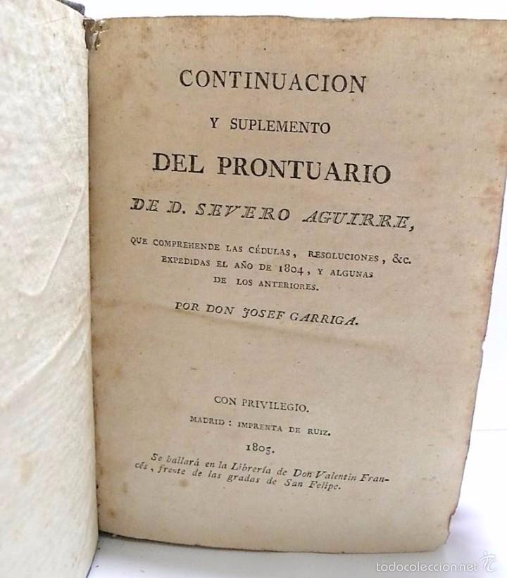 Libros antiguos: GARRIGA ,JOSEF-LIBRO TAPAS PIEL CONTINUACION Y SUPLEMENTO DEL PRONTUARIO DE D.SEVERO AGUIRRE 1.805 - Foto 4 - 58687151