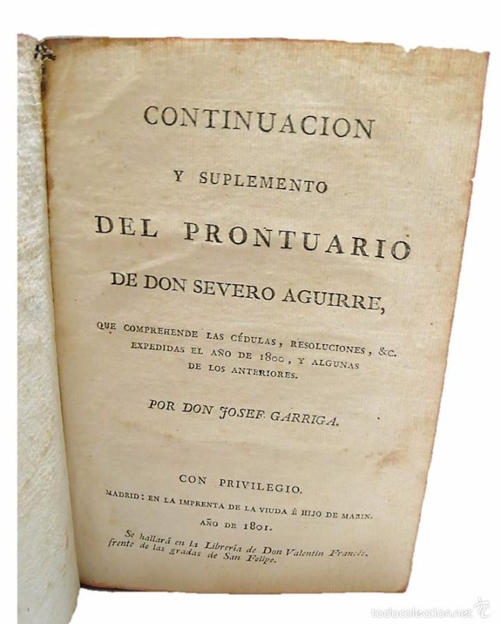 Libros antiguos: GARRIGA ,JOSEF-LIBRO TAPAS PIEL CONTINUACION Y SUPLEMENTO DEL PRONTUARIO DE D.SEVERO AGUIRRE 1.801 - Foto 2 - 58687352