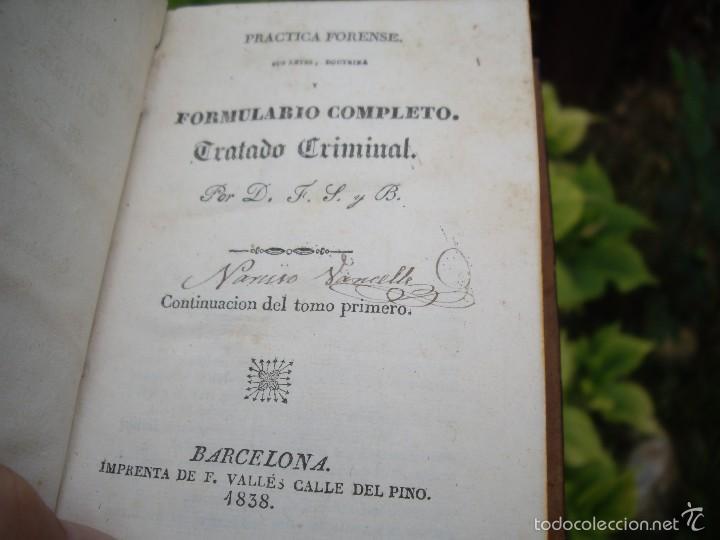 Libros antiguos: D.F.S.: NUEVO MANUAL de PRÁCTICA FORENSE, 4 tomos O.C. Impr. de F. Vallés 1835 - Foto 7 - 60108491