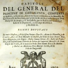 Libros antiguos: LC-059 - CAPITOLS PER LO REDRES DEL GENERAL. IMP. RAFAEL FIGUERÓ. BARCELONA. 1704.. Lote 60574371