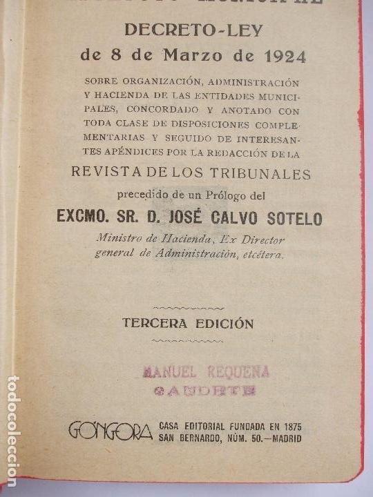Libros antiguos: ESTATUTO MUNICIPAL - Foto 2 - 64032915
