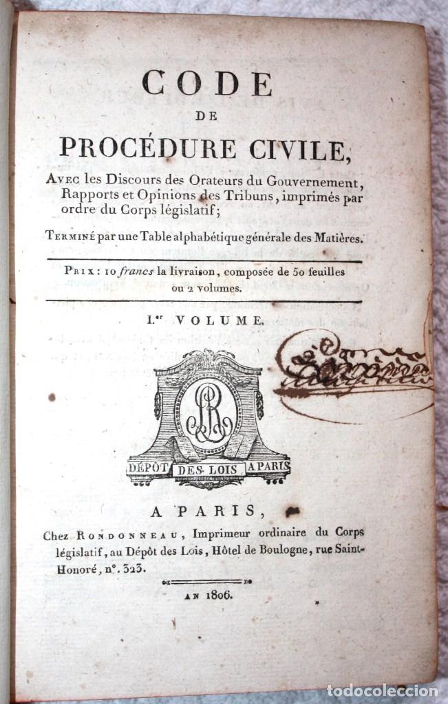 Libros antiguos: CODE DE PROCEDURE CIVILE, 1806 (FRANCÉS). - Foto 2 - 66518902