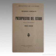 Libros antiguos: PRESUPUESTOS DEL ESTADO 1921-1922. - MINISTERIO DE HACIENDA. Lote 54239098