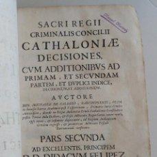 Libros antiguos: AÑO 1687 * DERECHO PENAL EN CATALUNYA POR MIQUEL CALDERÓ * FOLIO * 837 PAG * PERGAMINO. Lote 70569441