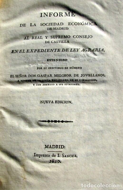 Libros antiguos: JOVELLANOS - LEY AGRARIA - Foto 4 - 71235631