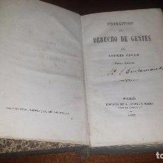 Libros antiguos: PRINCIPIOS DE DERECHO DE GENTES POR ANDRÉS BELLO. (1847). Lote 71849415