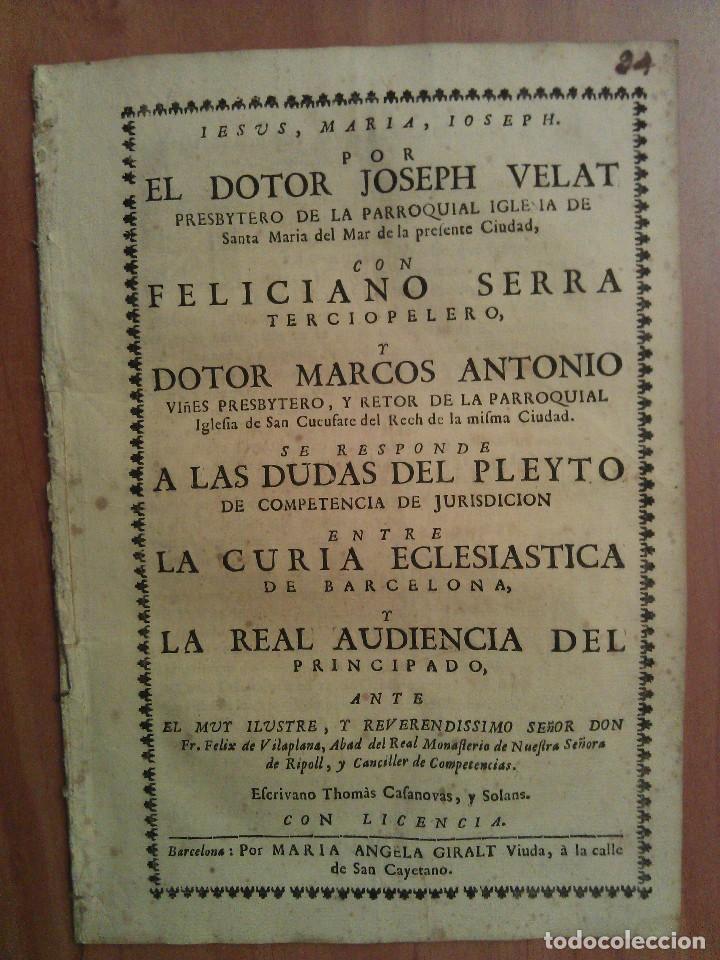 1730 PLEYTO JURÍDICO - IGLESIA SANTA MARÍA DEL MAR - PARROQUIA SAN CUCUFATE - BARCELONA (Libros Antiguos, Raros y Curiosos - Ciencias, Manuales y Oficios - Derecho, Economía y Comercio)