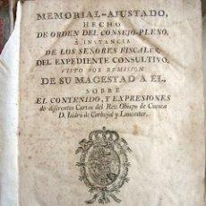 Libros antiguos: 1768. MEMORIAL AJUSTADO CONSEJO PLENO. ISIDRO DE CARVAJAL Y LANCASTER. IBARRA.. Lote 75502355