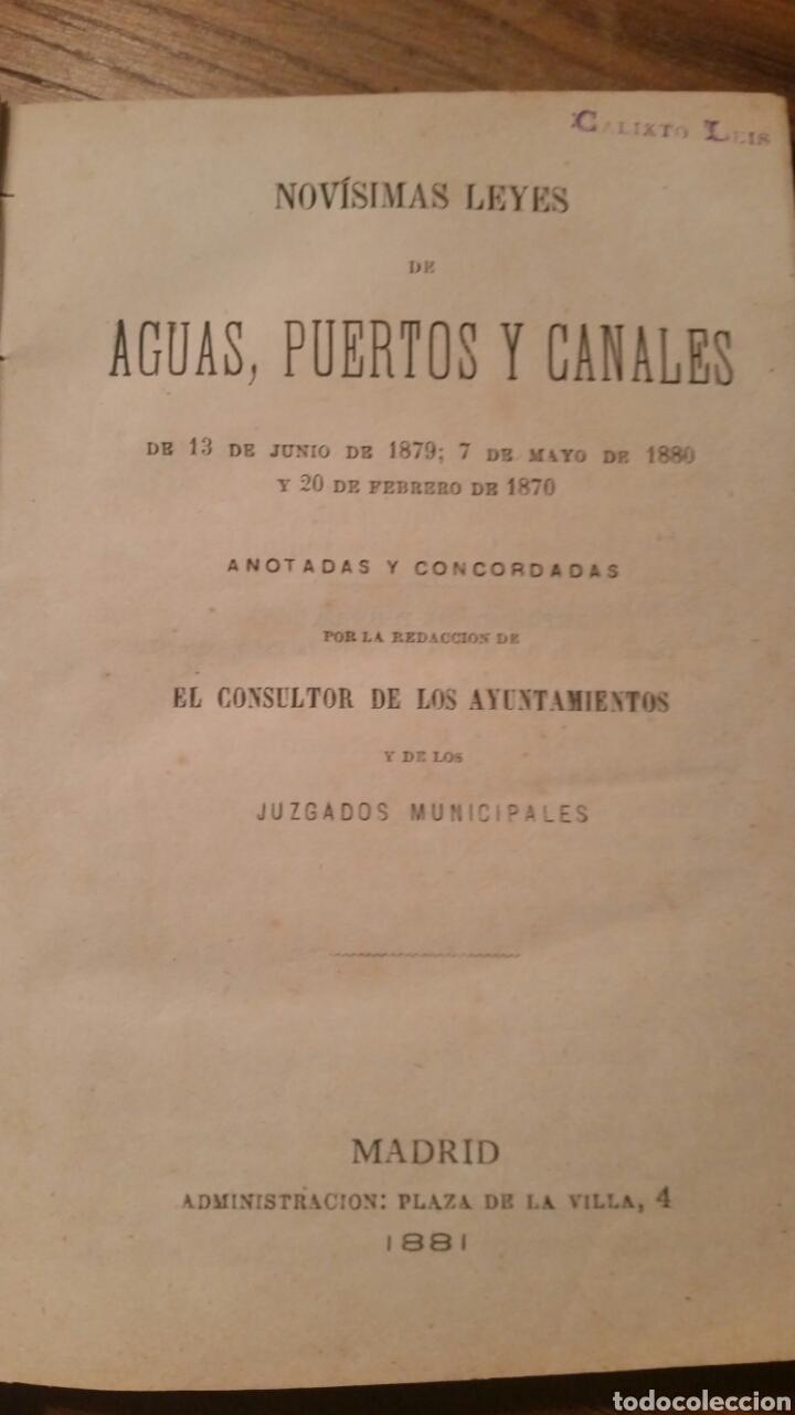 NOVÍSIMAS LEYES DE AGUAS, PUERTOS Y CANALES (Libros Antiguos, Raros y Curiosos - Ciencias, Manuales y Oficios - Derecho, Economía y Comercio)