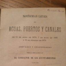 Libros antiguos: NOVÍSIMAS LEYES DE AGUAS, PUERTOS Y CANALES . Lote 75934418