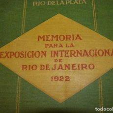 Libros antiguos: BANCO ESPAÑOL DEL RÍO DE LA PLATA - MEMORIA PARA LA EXPOSICIÓN INTERNACIONAL DE RÍO DE JANEIRO 1922. Lote 76912655