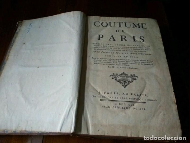 COUTUME DE PARIS. PIERRE LE MAISTRE (1741) (Libros Antiguos, Raros y Curiosos - Ciencias, Manuales y Oficios - Derecho, Economía y Comercio)