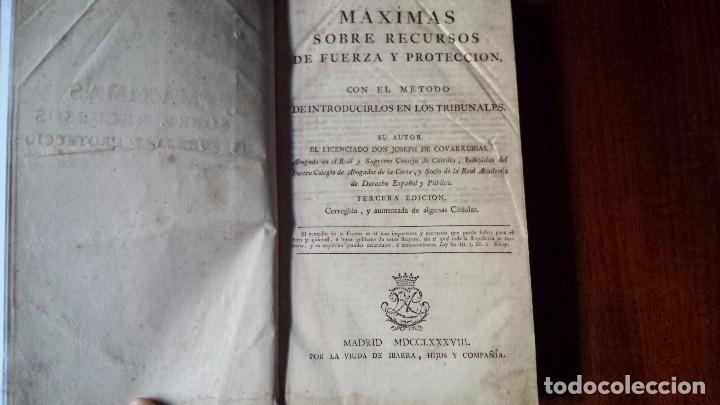 MÁXIMAS SOBRE RECURSOS DE FUERZA Y PROTECCIÓN. JOSÉ COVARRUBIAS. 3ª EDICIÓN. (1785) REENCUADERNADO (Libros Antiguos, Raros y Curiosos - Ciencias, Manuales y Oficios - Derecho, Economía y Comercio)