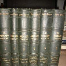 Libros antiguos: EL ABOGADO POPULAR, 6 TOMOS, HUGUET Y CAMPAÑÁ. Lote 79324621