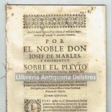 Libros antiguos: [COLEGIO DE BELÉN. BARCELONA] POR EL NOBLE DON IOSEF DE MARLES, Y CASADEMUNT.SOBRE EL PLEYTO. C.1682. Lote 80639298