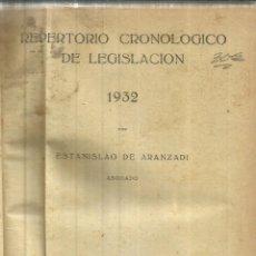Libros antiguos: REPETORIO CRONOLÓGIGO DE LEGISLACIÓN. ESTANISLAO DE ARANZADI. 1ª EDICIÓN. PAMPLONA. 1932. Lote 83464540