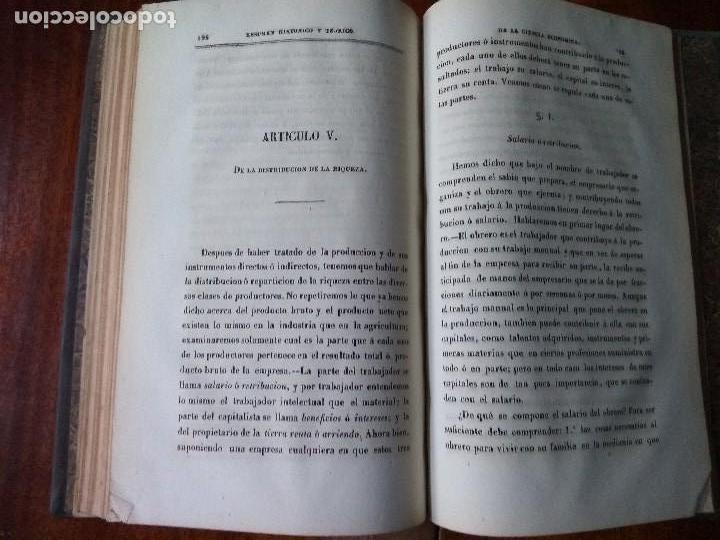 Libros antiguos: Resúmen histórico y teórico de la Ciencia Económica. Traducido del francés. Dalloz (1850) - Foto 6 - 83488220