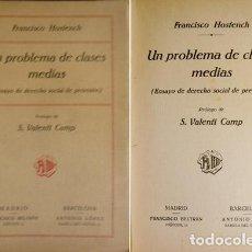 Libros antiguos: HOSTENCH, FRANCISCO. UN PROBLEMA DE CLASES MEDIAS. ENSAYO DE DERECHO SOCIAL DE PREVISIÓN. (1922).. Lote 86260696