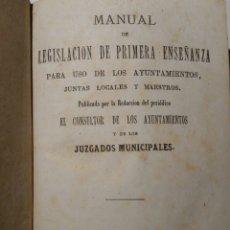 Libros antiguos: MANUAL DE LEGISLACIÓN DE PRIMERA ENSEÑANZA 1874. Lote 86677310