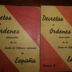 Libros antiguos: DECRETOS Y ORDENES EMANADOS DE LA JUNTA DE DEFENSA NACIONAL DE ESPAÑA 1936. Lote 87609416