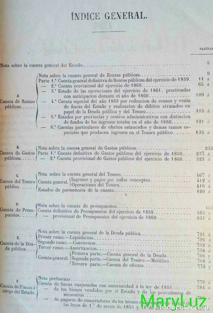 Libros antiguos: CUENTA GENERAL DEL ESTADO DEL AÑO 1860. - Foto 4 - 89592080