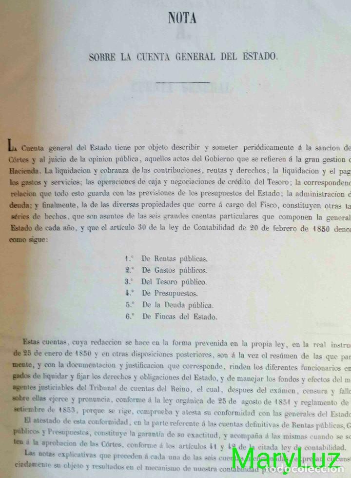 Libros antiguos: CUENTA GENERAL DEL ESTADO DEL AÑO 1860. - Foto 5 - 89592080
