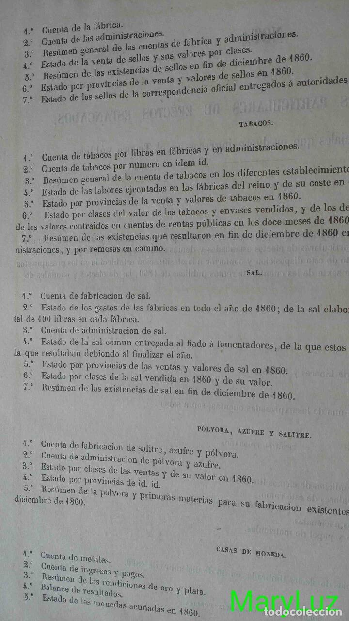 Libros antiguos: CUENTA GENERAL DEL ESTADO DEL AÑO 1860. - Foto 15 - 89592080