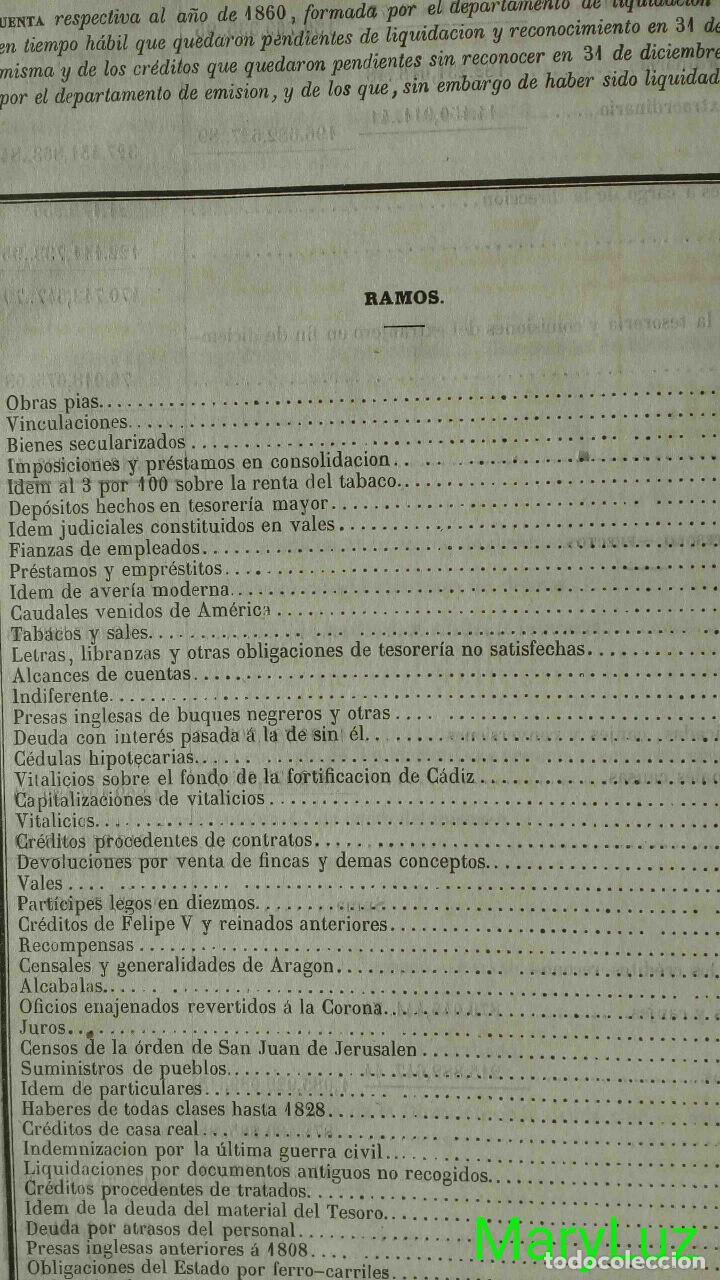 Libros antiguos: CUENTA GENERAL DEL ESTADO DEL AÑO 1860. - Foto 40 - 89592080