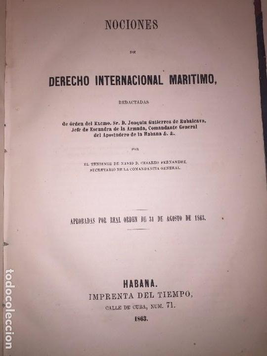 NOCIONES DERECHO MARITIMO INTERNACIONAL COLONIAL HABANA CUBA 1863 COLONIA CESAREO FERNANDEZ (Libros Antiguos, Raros y Curiosos - Ciencias, Manuales y Oficios - Derecho, Economía y Comercio)