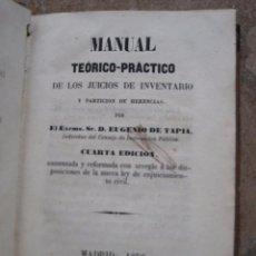 Libros antiguos: MANUAL TEORICO-PRACTICO DE LOS JUICIOS DE INVENTARIO Y PARTICION DE HERENCIAS. 4ª. EDICION- 1856. . Lote 92220695