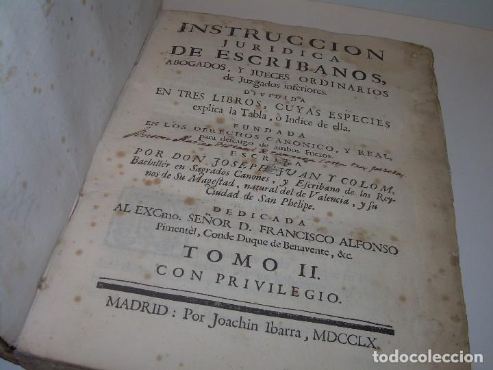 LIBRO TAPAS DE PERGAMINO..INSTRUCCION JURDICA DE ESCRIBANOS,ABOGADOS Y JUECES....AÑO 1760 (Libros Antiguos, Raros y Curiosos - Ciencias, Manuales y Oficios - Derecho, Economía y Comercio)