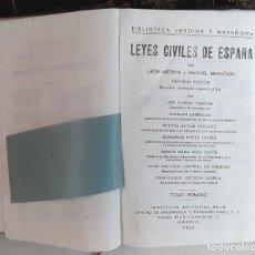 Libros antiguos: LEYES CIVILES DE ESPAÑA. 10 VOLÚMENES. VARIOS AUTORES. VARIAS EDITORIALES. 1923/1958 .. Lote 99446311
